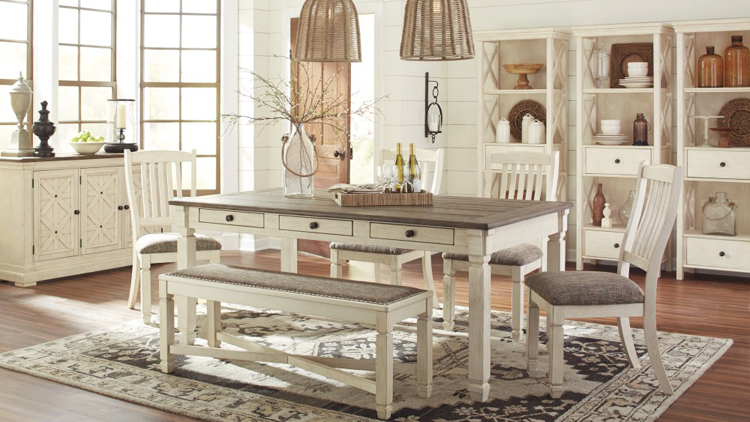 Antique White Gray Table with Chairs