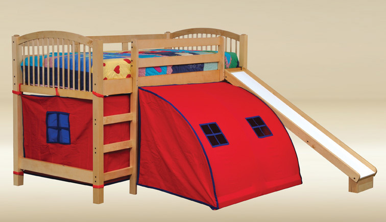 Loft Bed with Slide and Tent