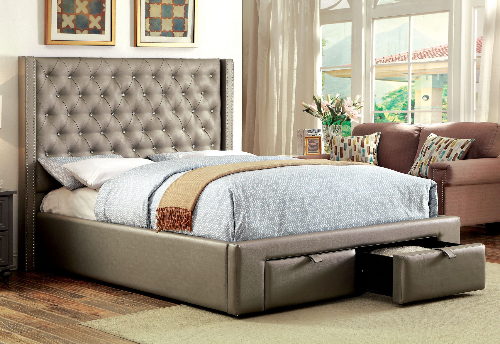 Corina Platform Bed with Drawers in Foot Board