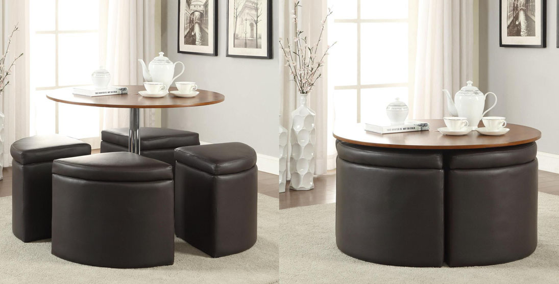 Dark Brown Round Coffee Table With Ottomans  Table For Small Apartment