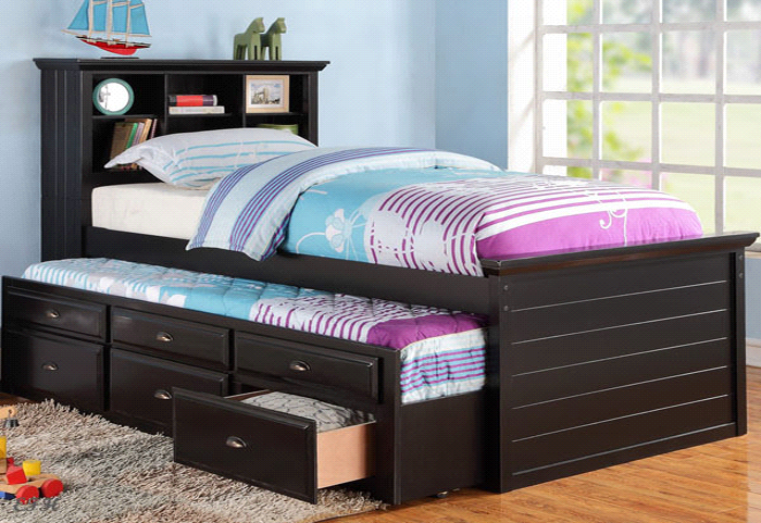 Twin Bed With Under Trundle Drawers