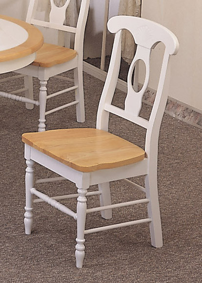 2 White Napoleon Wood Kitchen Chairs W Natural Finish Seat