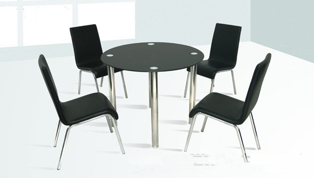 38 galina round black glass chrome table w chairs