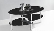 Guda Black Glass Oval Chromed Cocktail Table