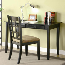 Black Wood Writing Desk with Chair