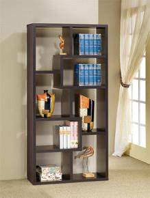 Cappuccino Contemporary Asymmetrical Cube Bookcase