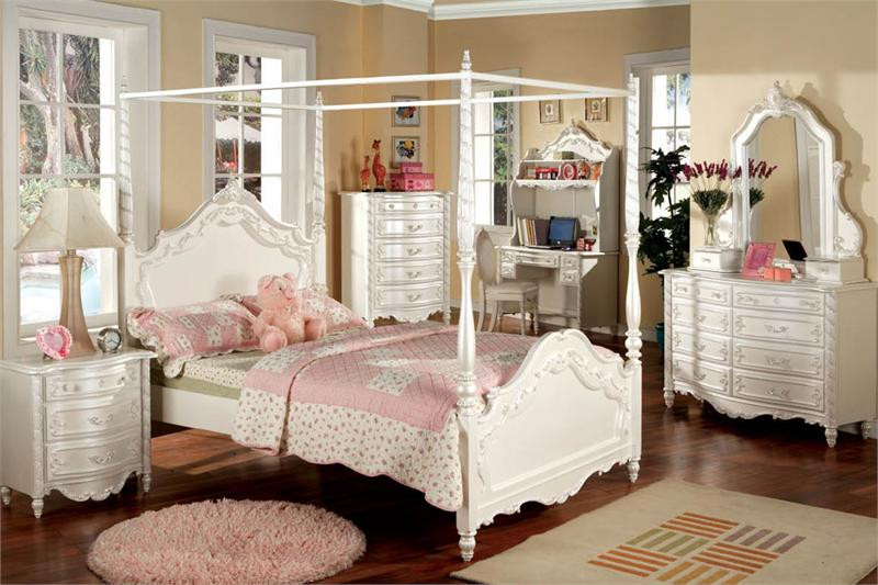 Victoria Pearl White Fairy Tale Twin Canopy Bed - Victoria Pearl White Fairy Tale Twin Canopy Bed Beds For Girls