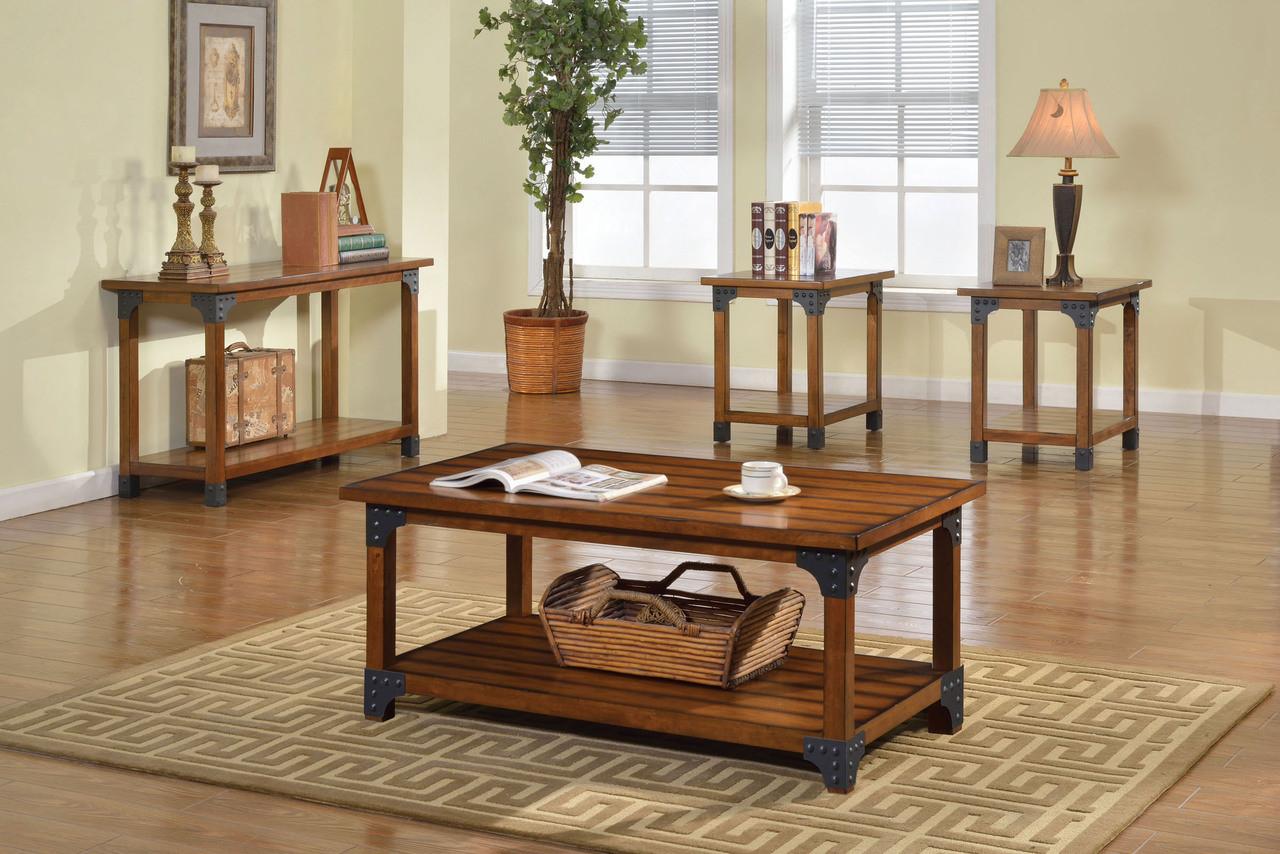 Antique Oak Metal Coffee Table Set | Plank Style Wood Metal Coffee Table Set