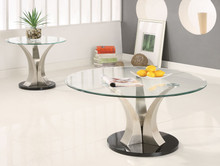 Halona Contemporary Round Glass Coffee Table | Architectural Glass Chrome Coffee Tables