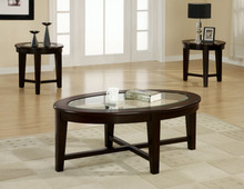 Casual Cappuccino Oval Glass Occasional Table Set