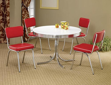 50 39 s style round chrome retro dining table w four red chairs for 50s style kitchen table