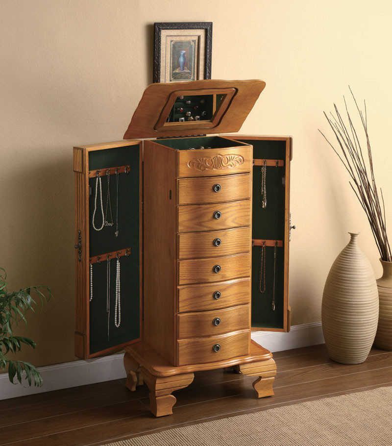 Awesome Deluxe Jewelry Armoire In Light Oak