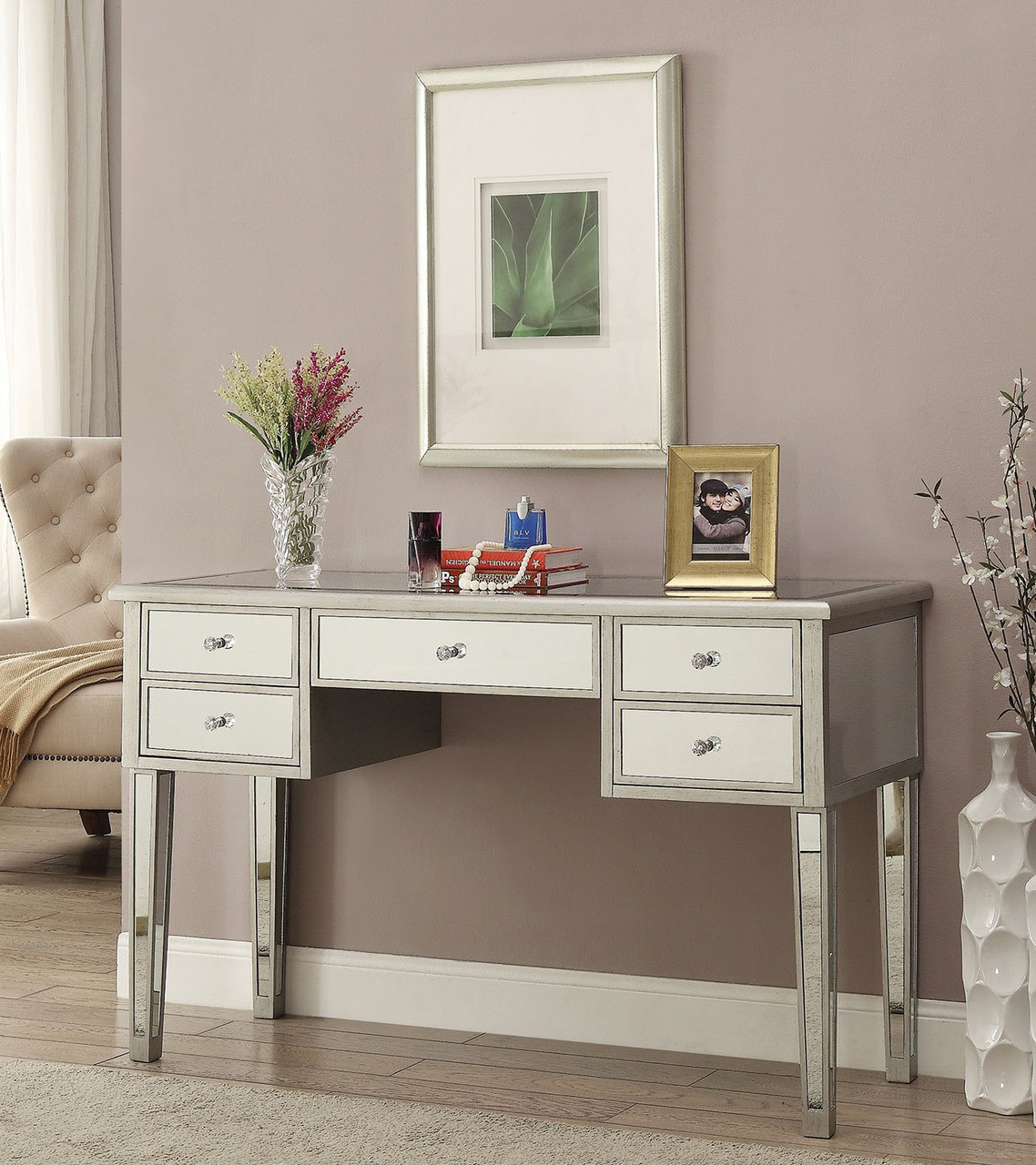 Zarina Antique Silver Mirrored Dressing Table - Zarina Antique Silver Mirrored Makeup Vanity Table