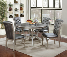 """48"""" Amina Champagne Finish Round Table Set 