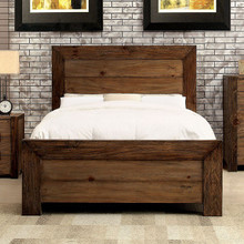Aveiro Rustic Plank Style Platform Bed | Furniture of America CM7627 Queen King Wood Platform Bed