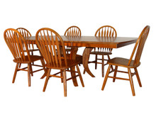 Solid Birch 7 Piece Boat Shape Table With 6 Arrow Back Chairs