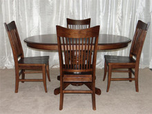 Heritage Oval Solid Oak Whiskey Brown Dining Table Set