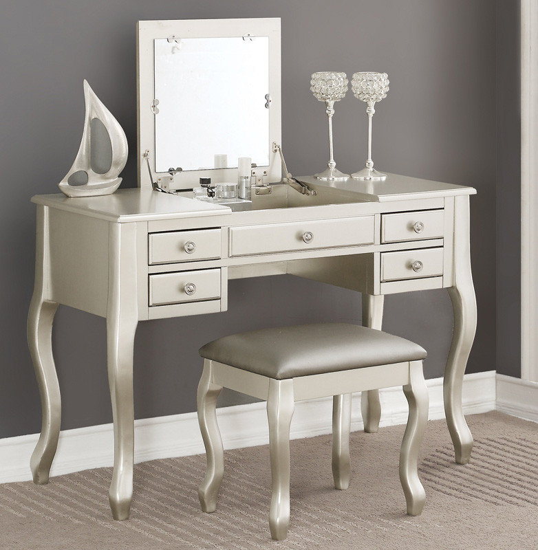 Beau Tilly Makeup Silver Vanity Table With Mirror | Also Available In Black,  White And Cherry ...