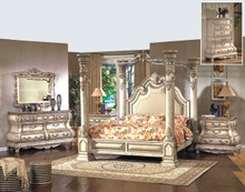 Athena 4-Pc Antique White Canopy Bedroom Set