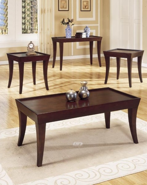 PC Espresso Finish Wood Coffee Table Set - Espresso finish coffee table set