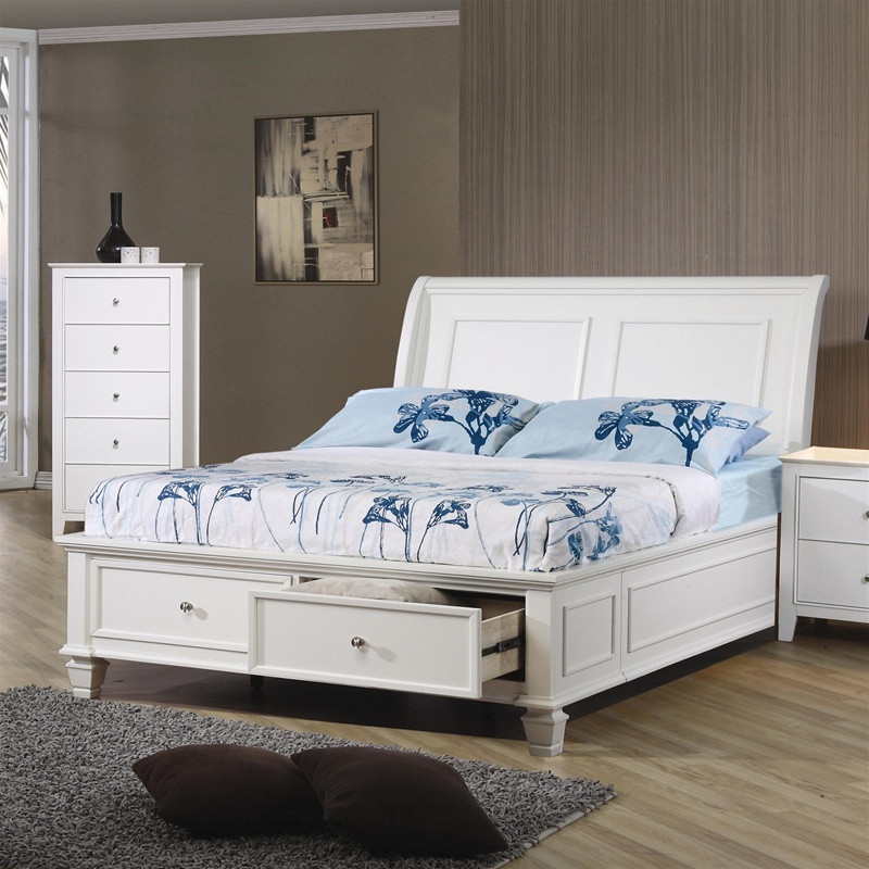 selena white wood full platform storage bed