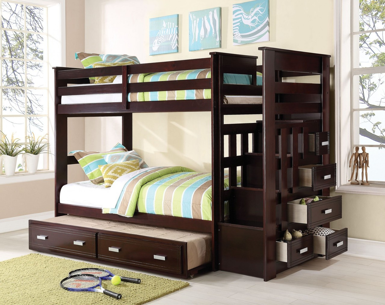 Diego Espresso Wood Twin Stairway Bunk With Trundle