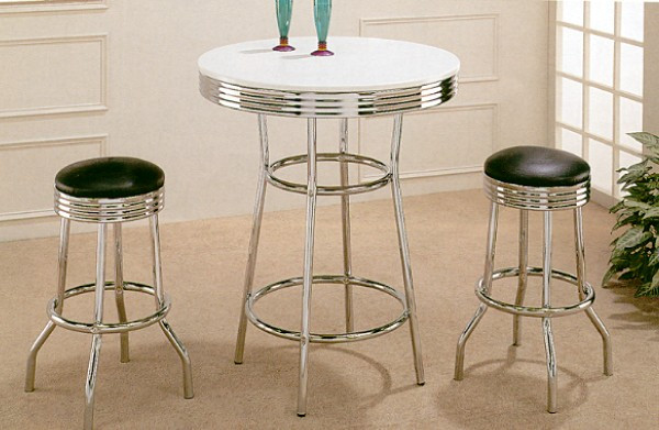 Retro Chrome Bar Table w/ Black Bar Stools | 30 Inch Retro Bar Table Set & 30