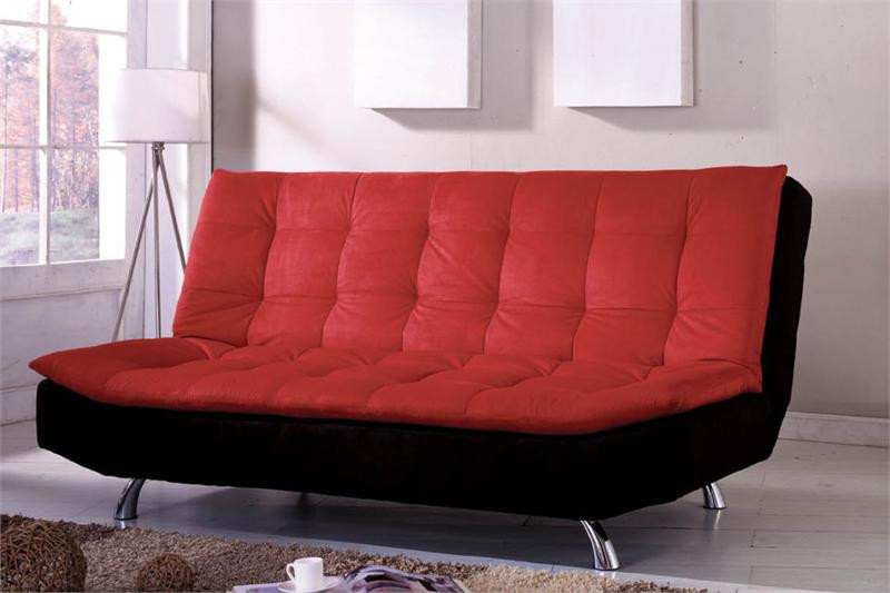 Malibu Pillow Top Microfiber Black U0026 Red Futon Sofa