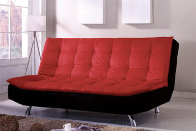 Malibu Pillow Top Microfiber Black Red Futon Sofa Bed
