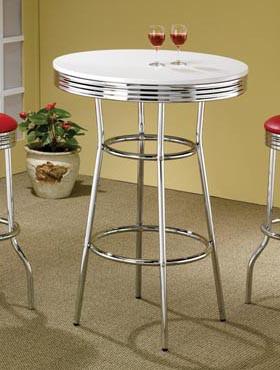 White Retro Table | Retro Style Chrome Pub Table