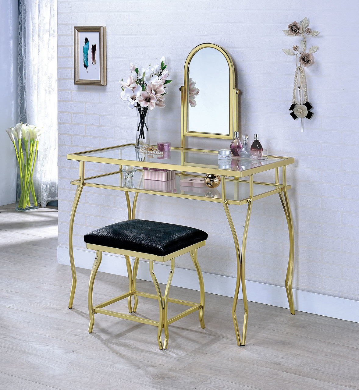 Emma Metal Glass Makeup Desk With Bench | Champagne Finish ...