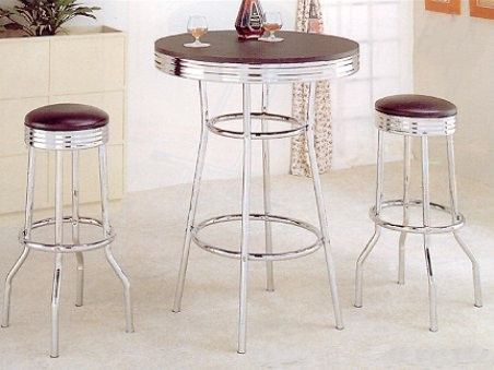 Black Retro Bar Table Set W/ Two Stools | Timeless Retro Bar Table With  Stools ...