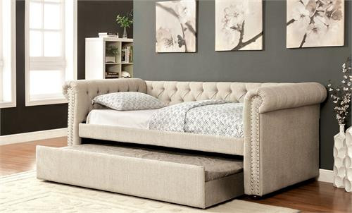 Furniture of america cm1027 fabric daybed with trundle for Furniture of america daybed