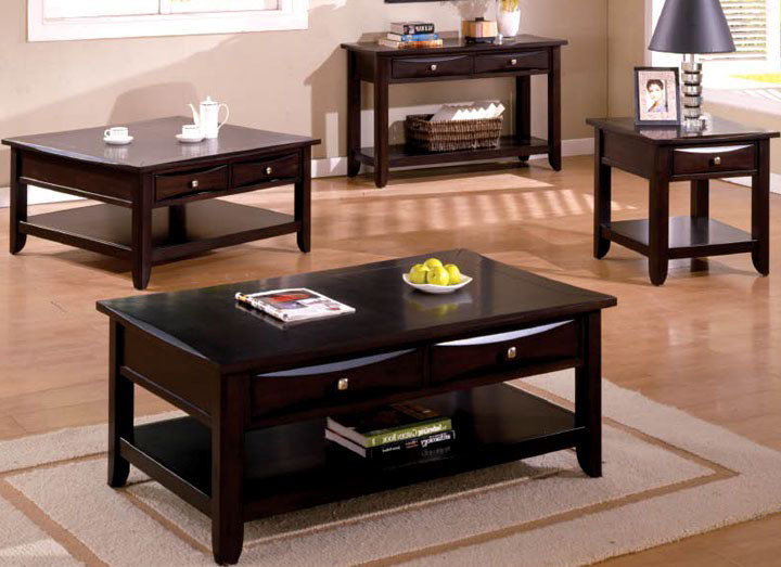 Charming Baldwin Espresso Coffee Table W/ Storage Drawers