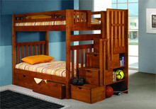 Casey Honey Pine Twin Bunk with Stairs