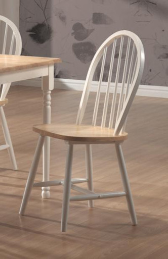 4 Spindle Back Chairs In White Amp Natural Finish