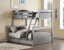 Dakota Gray Twin Full Bunk with Drawers | Convertible 2-Tier Bed