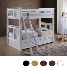 Gary White Mission Wood Twin Bunk    Convertible White Twin Bunk for Kids