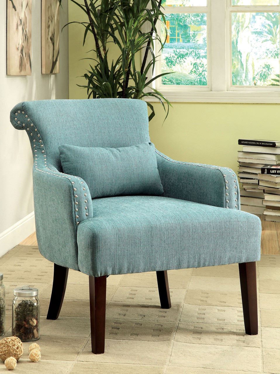 Agalva Gray Fabric Accent Chair
