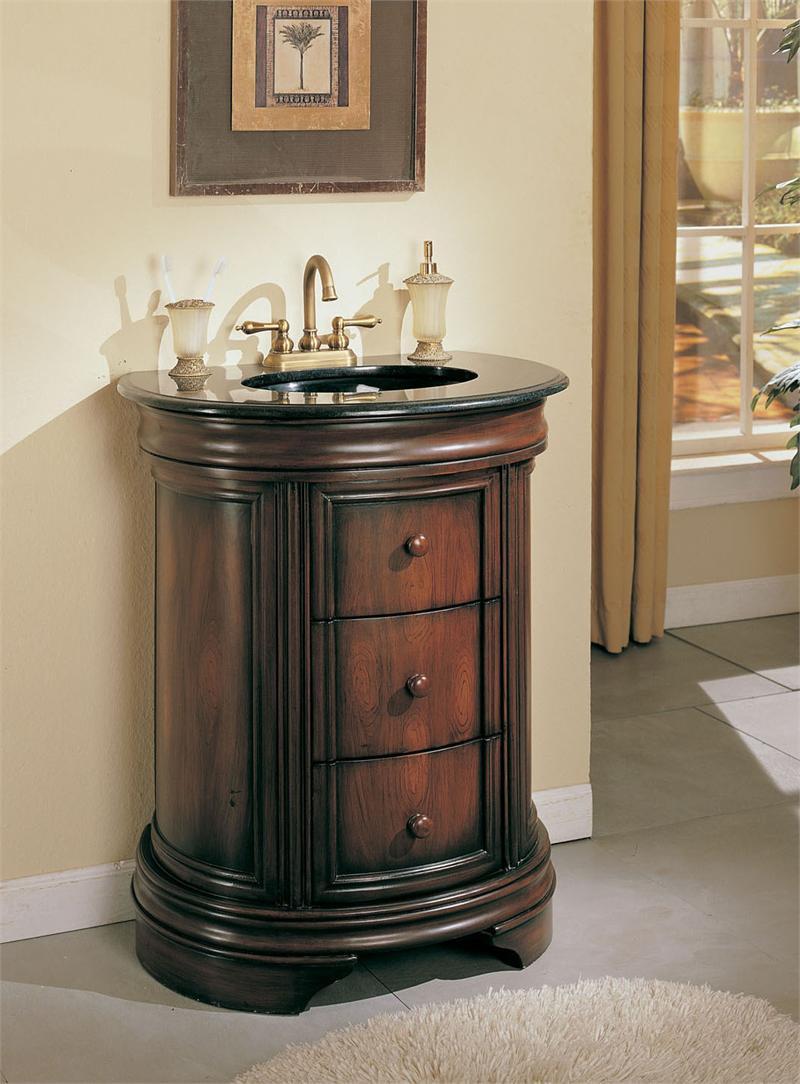 28 Quot Tayside Walnut Single Sink Vanity Cabinet W Granite Top