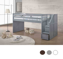 Gray Twin Loft Bed with Storage Steps