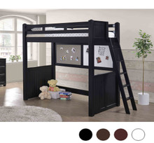 Molly Twin Loft Bed with Ladder in Black  Finish| Wood Lofts
