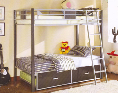 Cletis Silver Amp Gun Metal Twin Bunk Bed Twin Bunk Bed