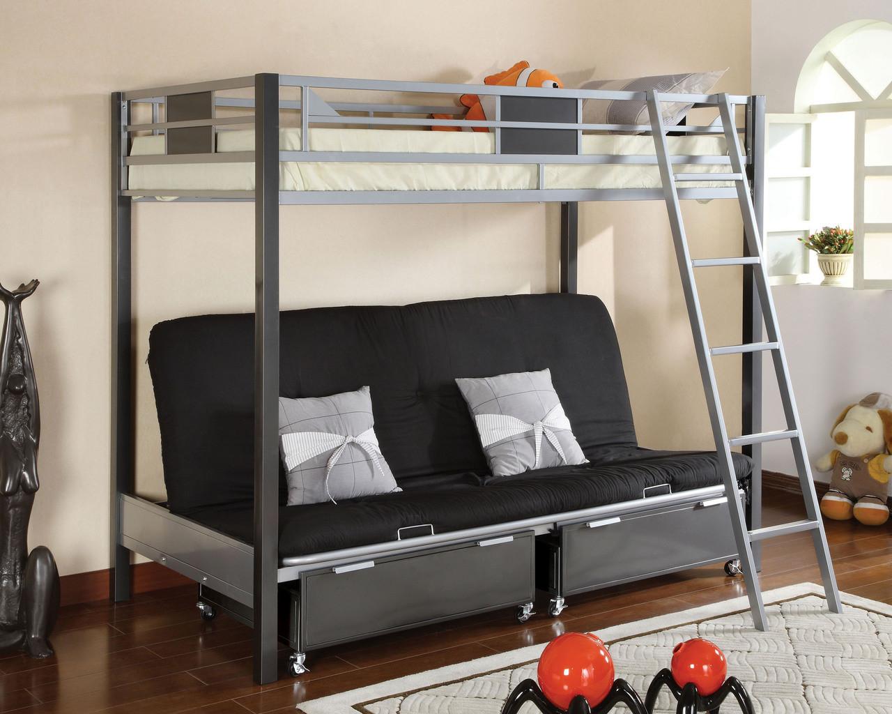 Cletis Silver Gun Metal Twin Futon Bunk Bed