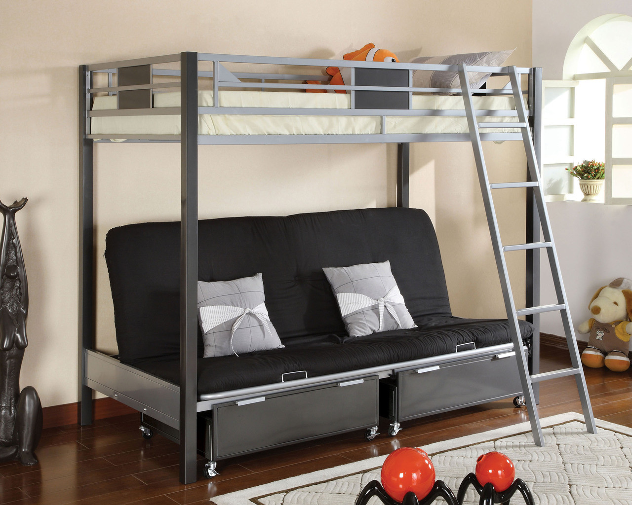 Cletis Silver & Gun Metal Twin Futon Bunk Bed | Twin Futon Bunk Bed - Cletis Silver & Gun Metal Twin Futon Bunk Bed