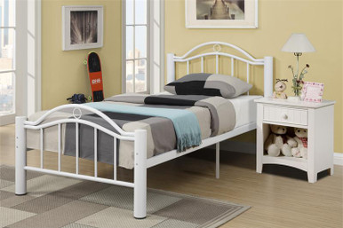 reese white metal full bed white beds for sale. Black Bedroom Furniture Sets. Home Design Ideas