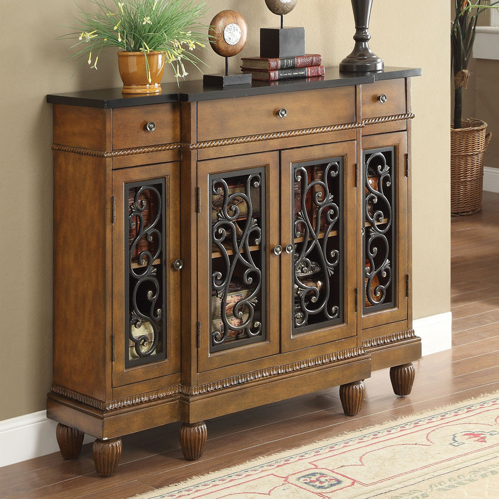 Accent Hallway Chest In Oak Finish With Metal And Glass Doors