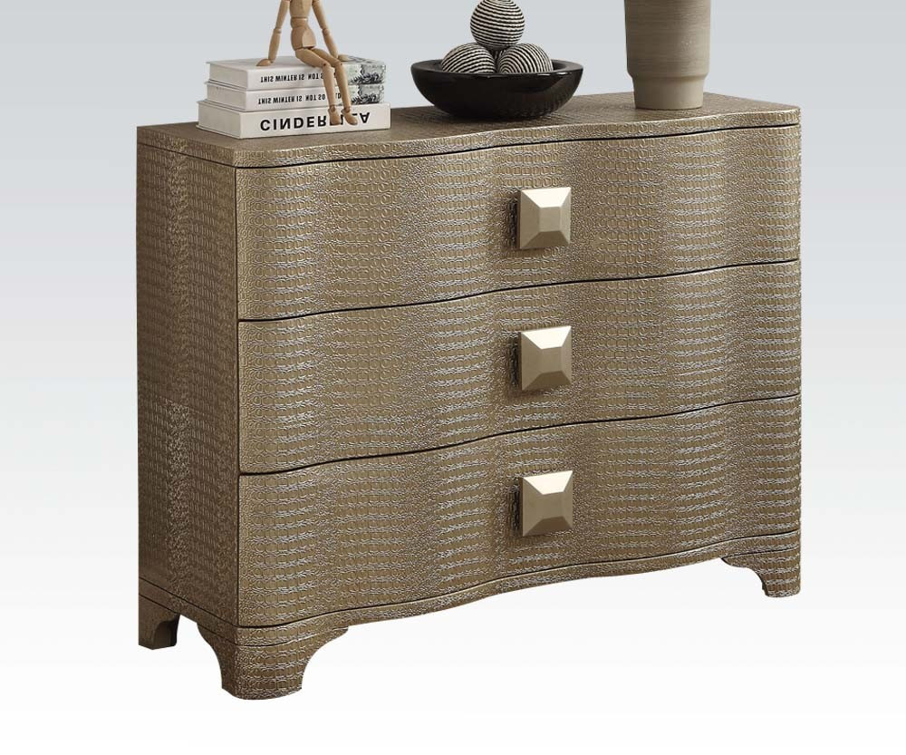 Hardev Embossed Gold Patina Accent Chest With Drawers