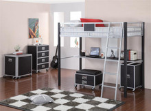 Silver and Black Twin Loft with Workstation