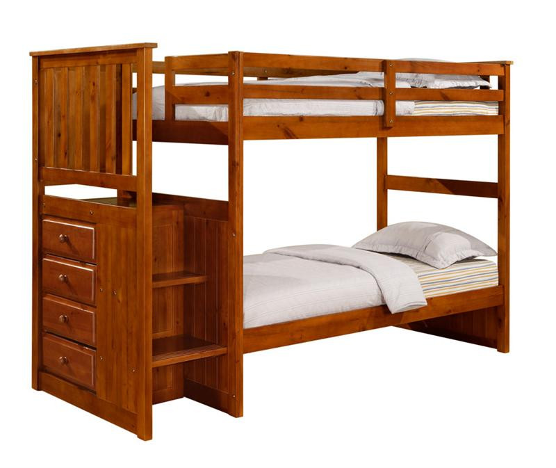 Carson Rustic Pine Twin Over Full Bunk Bed With Stairs